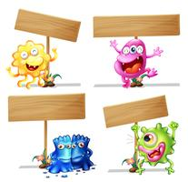 Wooden sign template with cute creatures