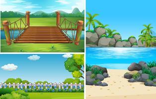 Três cenas da natureza no tempo do dia