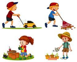 Chicos y chicas hacen diferentes trabajos de jardinería.