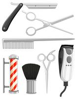 Different types of barber equipments vector