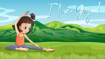 Chica haciendo yoga en el parque con frase l love yoga vector