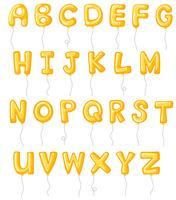 Alphabetauslegung mit gelben Ballonen