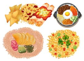 Different kinds of food on white background