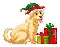Weihnachtsmotiv mit niedlichem Hund und Geschenken