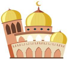 Een mooie moskee op witte achtergrond