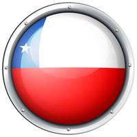 Chile flag on round badge vector