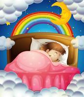 Hora de acostarse con la niña durmiendo en la cama.