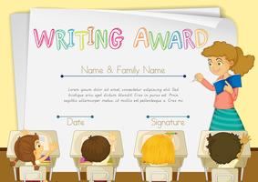 Certificate template for writing award