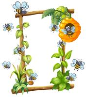 Bee on wooden frame vector