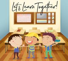Crianças felizes aprendem em sala de aula vetor