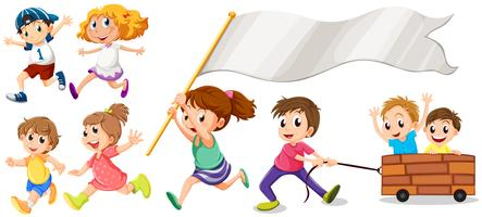 Many kids with happy smile vector