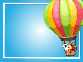 Border template with Santa flying in balloon