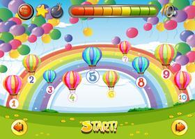Plantilla de juego con globos y números.