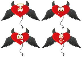 Four devil hearts with facial expressions