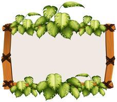 Modèle de bordure de bois et de feuilles
