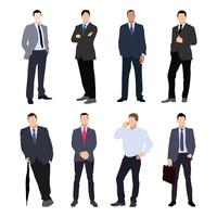 Collection of man silhouettes, dressed in business style. Formal suit, tie, different poses.