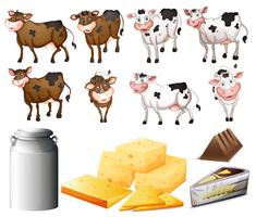 Cows and dairy products vector
