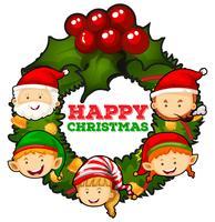 Tema navideño con muérdagos y personas.