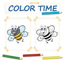 Modèle de coloration avec les abeilles qui volent