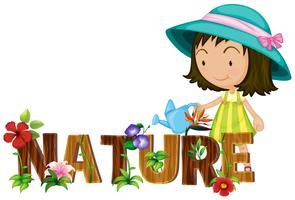 Nature theme with girl watering flowers