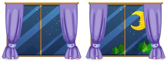 Två fönster scener på natten