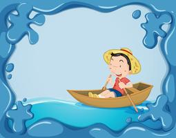 Frame template with boy rowing boat vector