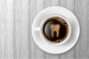 Cup of coffee with tooth from foam realistic vector illustration.