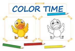Coloring template with little duck