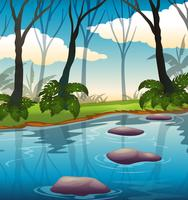 A beautiful lake landscape vector