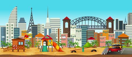 Panorama del parque infantil en el área urbana