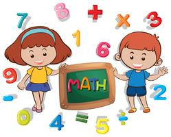 Boy and girl with many numbers
