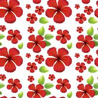 Seamless background design with red hibicus flowers