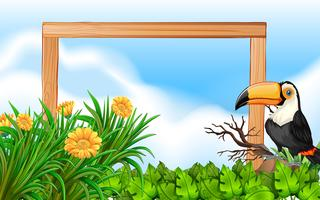 Toucan wood frame background
