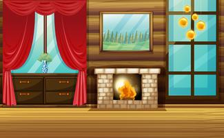 Room with fireplace and red curtain