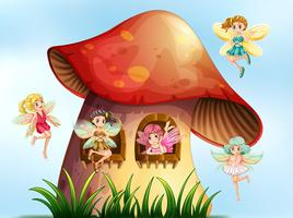 Five fairies flying in mushroom garden