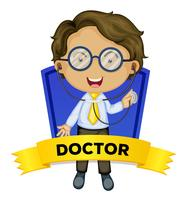 Occupation wordcard with male doctor