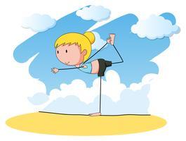 Mulher, fazendo, ioga, sozinha