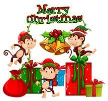 Jultema med apor och presenter