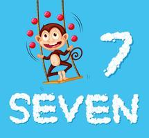 Um macaco fazendo malabarismos com sete bolas