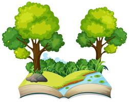 Thème de la nature livre ouvert isolé