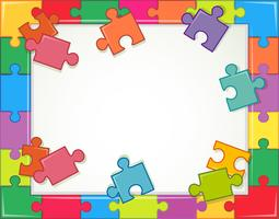 Frame template with jigsaw puzzle pieces vector