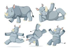Set of cute rhinos