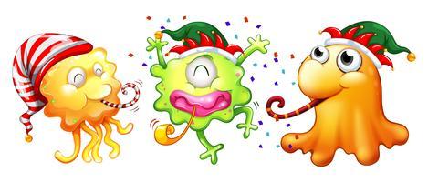 Jultema med tre monster som har fest