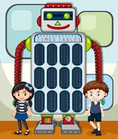 Times tables chart with kids and robot in background