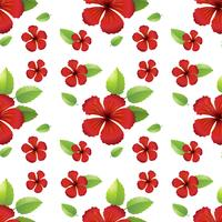 Seamless design with red hibicus flowers vector
