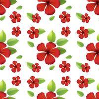 Design sem costura com flores de hibicus vermelho
