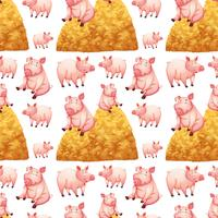 Seamless background with pigs and haystacks