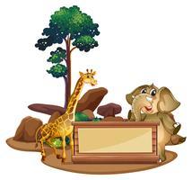 Plantilla de banner con jirafa y elefante