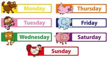 Days of the week with animals on the signs vector