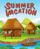 Tema de vacaciones de verano con casas junto al río.